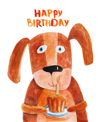 Dog with cake with candle. Watercolor illustration. Hand drawing