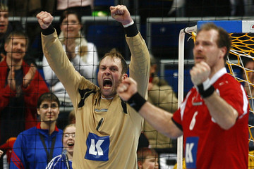 Denmark's Hvidt reacts after the Handball World Cup group M2 match against Russia in Mannheim
