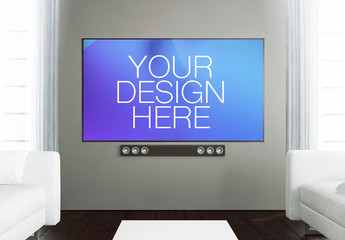 Big Screen TV in Living Room Mockup
