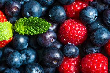Variety of Fresh Berries such as Blueberries, Raspberries and Strawberries