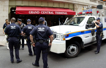 Police on duty outside New York's Grand Central Terminal following London attacks.