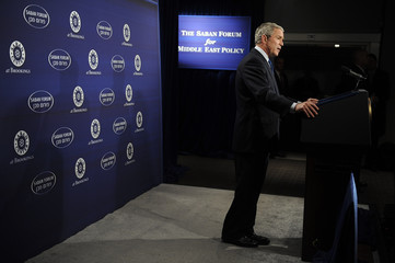 Bush speaks about his Middle East policy to the Saban Forum at the Newseum in Washington