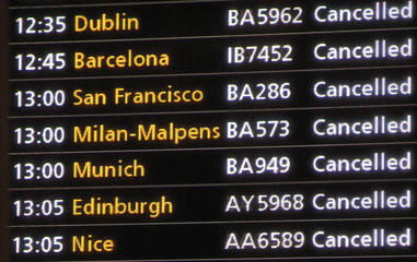 Flight Information Screen Shows Cancellations At Heathrow Airport Near London