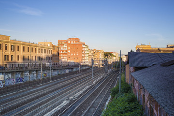 Railway at sunset in Rome near Pigneto street