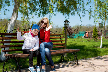 little girl with mother in the Park