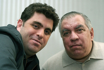 Director Eugene Jarecki (L) and New York City Police Department officer Wilton Sekzer pose for a pic..