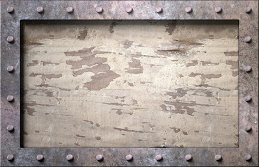 Metal frame with nails