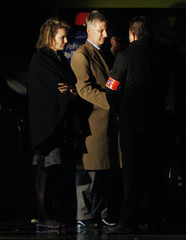 Belgium's Crown Prince Philippe and Princess Mathilde arrive at the entrance of a creche in which a knife attack occurred in Dendermonde