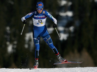 Kuitunen of Finland skis during the women's FIS World Cup cross-country sprint skiing event in Davos