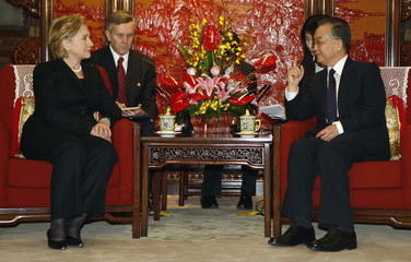 U.S. Secretary of State Hillary Clinton meets Chinese Premier Wen Jiabao in Beijing