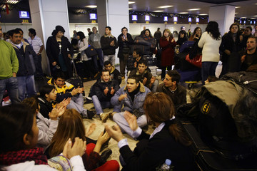 Stranded passengers of Spanish airline Air Comet protest in Madrid's Barajas airport