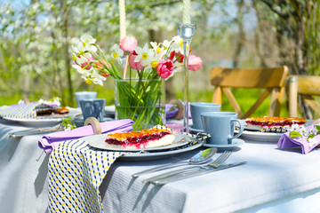 Table setting and cage with flowers in garden