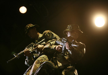Mannequins are shown as part of a display at the new National Museum of the Marine Corps in Quantico Virginia