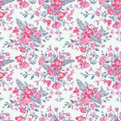 Floral seamless pattern. Flower bouquet garden ornamental background.