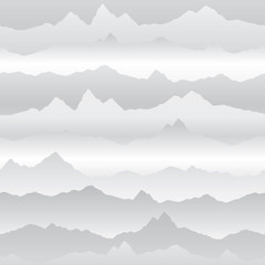 Abstract wavy mountain skyline background. Nature landscape winter seamless pattern