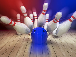 Bowling ball and pins background