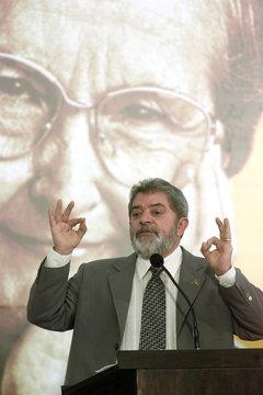 BRAZILIAN PRESIDENT LULA DA SILVA SPEAKS DURING CEREMONY IN BRASILIA.