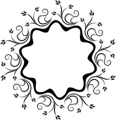 Decorative black lace circle ornament for your design with floral branches and leaves.