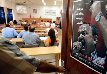 POSTER OF JAILED PALESTIAN LEADER MARWAN BARGOUTHI IS PICTURED ON DOOROF PARLIAMENT IN GAZA.