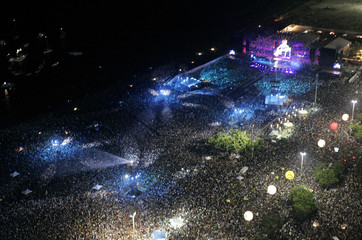 "Aerial view of Rolling Stones' ""A Bigger Bang"" free concert on Copacabana Beach in Rio de Janeiro"