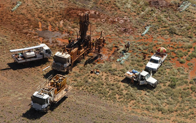 Rig drills for iron ore samples at one of Atlas Iron Limited's prospective iron ore mines near Port Hedland