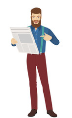 Hipster pointing at a newspaper