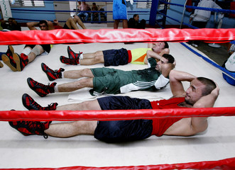 IRAQI BOXERS WORK OUT IN MANILA'S RIZAL STADIUM.