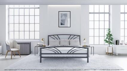 White modern bedroom, Scandinavian interior design