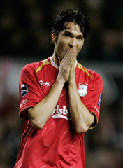 Liverpool's Garcia reacts after missing a shot at goal at Anfield