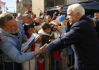 U.S. Republican presidential nominee Senator McCain is greeted by supporters as he arrives at a campaign stop in Steubenville