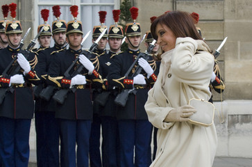 Argentina's President Cristina Fernandez de Kirchner arrives for a meeting at the Elysee Palace in Paris