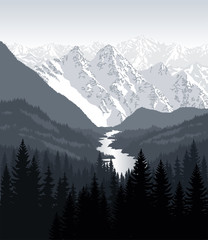 vector morning in beautiful mountains with river