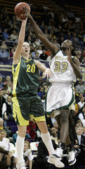 Baylor's Sophia Young blocks the shot of Oregon's Kristen Forristall.