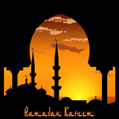 Ramadan Kareem. View from the arch on the blue mosque. Sunset or sunrise. Bird, the clouds. illustration