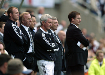 Newcastle United's Shearer, Mcdermott and Roeder attend testimonial soccer match against Celtic at St James Park in Newcastle