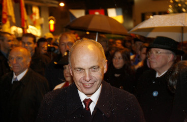 Designated Swiss Defence Minister Maureris smiles during a visit to his hometown Hinwil east of Zurich