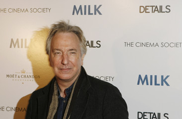 """Actor Alan Rickman arrives for a Cinema Society screening of the film """"Milk"""" in New York"""