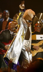 Funk music pioneer Sly Stone makes his first major public appearance in almost 13 years during a tri..