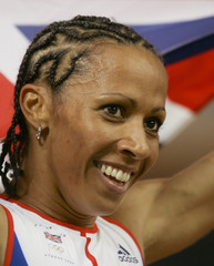 Britains Kelly Holmes celebrates her victory in the womens 1500 metres final in Athens.