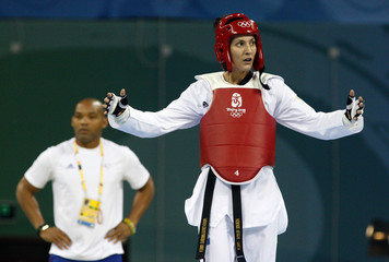 Sarah Stevenson of Britain reacts after the women's +67kg quarterfinal taekwondo competition against Chen Zhong of China at the Beijing 2008 Olympic Games