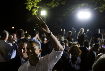 U.S. Democratic presidential nominee Senator Obama waves to supporters at campaign rally in Beaver, Pennsylvania