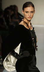 A model presents a creation from the Escada fall/winter 2009 collection at the MasterCard Luxury Week in Hong Kong