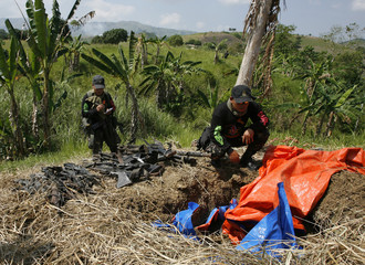 Philippine police inspect assorted firearms unearthed on the farm of Ampatuan clan in Shariff Aguak, Maguindanao