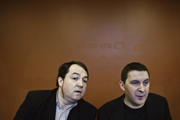 Spokesmen for banned pro-independence party Batasuna, Otegi and Barrena, address a news conference in San Sebastian