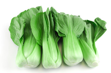 Bok choy green leaf Asia vegetable on white background