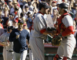 Boston Red Sox manager Francona runs out of the dugout to celebrate after defeating the Los Angeles Angels of Anaheim in Anaheim