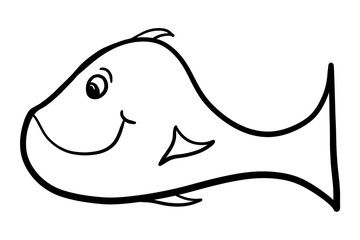 Black and White Cartoon Fish Illustration