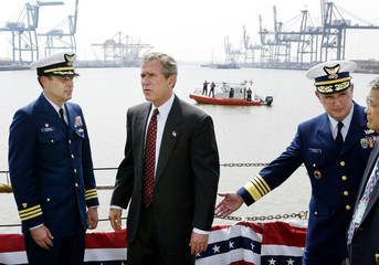 US PRESIDENT BUSH TOURS COAST GUARD CUTTER IN NEW JERSEY.