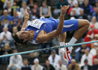 Ciotti of Italy clears bar in men's high jump at world athletics championships in Helsinki.