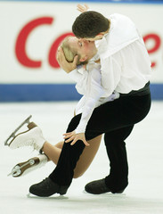 CANADA'S PAIRS TEAM PERFORM ON WAY TO WIN BRONZE AT FIGURE SKATINGCOMPETITION IN KYOTO, JAPAN.